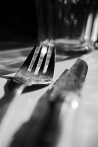 knife and fork at a table setting