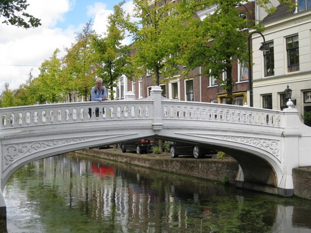 white bridge over canal in Delft