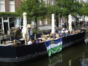 cafe on a barge on canal in Delft