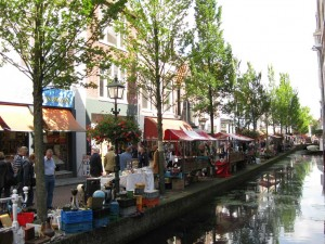 market along canal in Delft