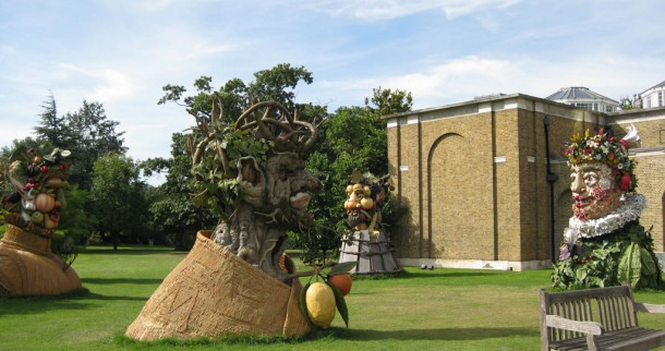 philip haas' four seasons sculptures in front of dulwich picture gallery