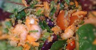close-up of quinoa and prawn salad