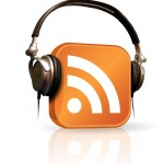podcast logo with headphones on orange rss feed symbol