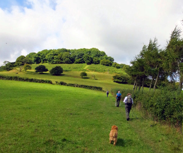 walking towards steep hill on the cotswold way