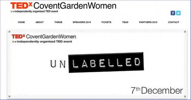 Logo for TEDx Covent Garden Women UnLabelled Event 7 December 2013