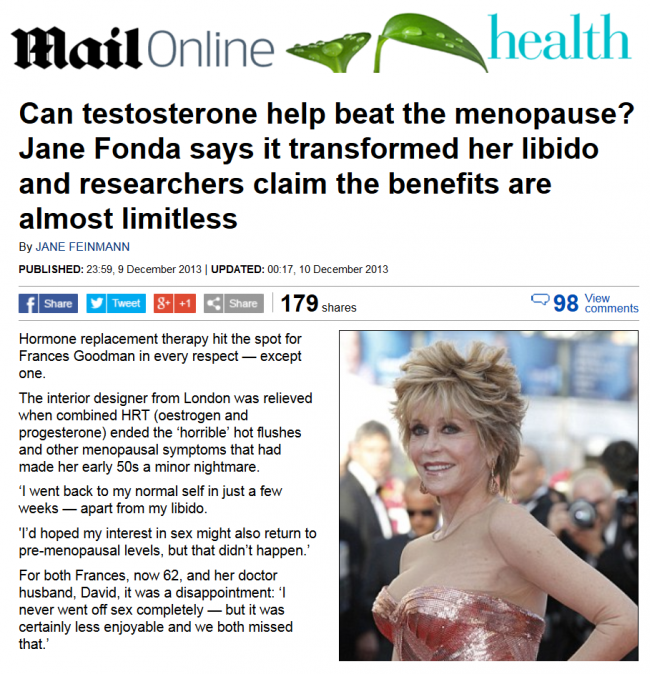 Screenshot of Daily Mail article 'Can Testosterone help beat the menopause?'