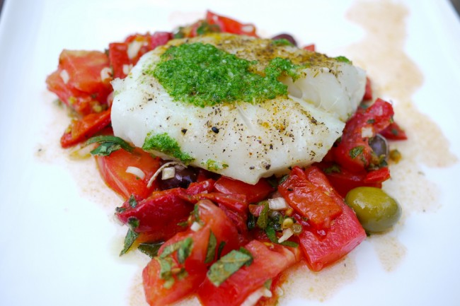 High protein diet meal: Mediterranean cod