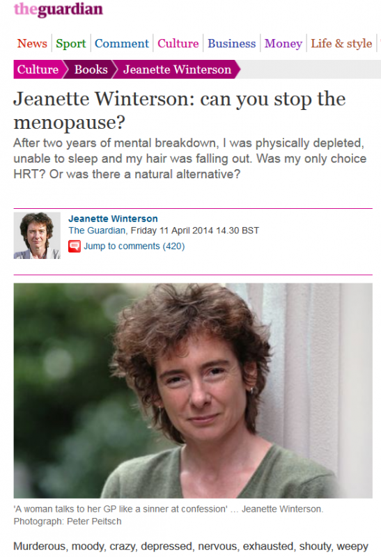 Screenshot of Jeanette Winterson's menopause article in The Guardian