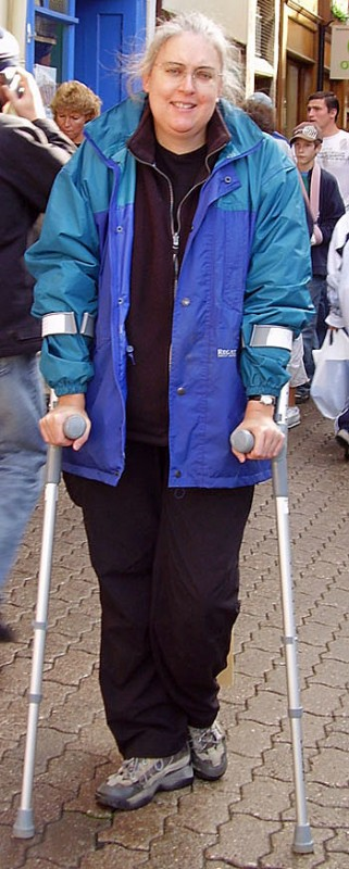 Angie on crutches recovering from arthritis