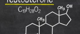 Chemical formula for testosterone written on a blackboard