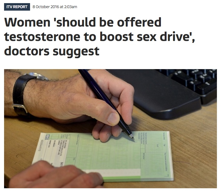 ITV News screenshot 'Women should be offered testosterone to boost sex drive,' doctors suggest